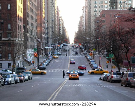 Looking south down West End Avenue on the Upper West Side of Manhattan, New York City