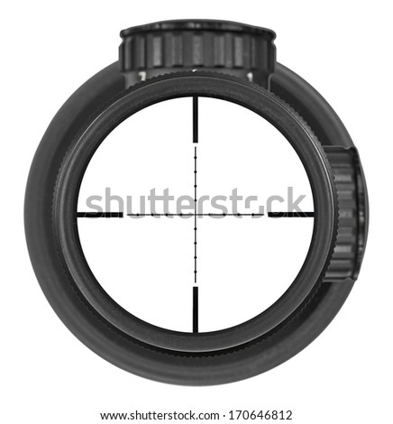 Looking through new rifle scope with Mil-Dot reticle, three clipping paths for creative work - stock photo