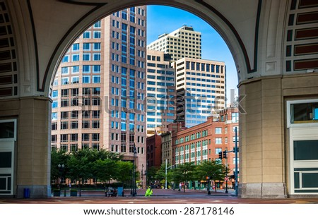 Looking through the arch at Rowes Wharf, in Boston, Massachusetts.
