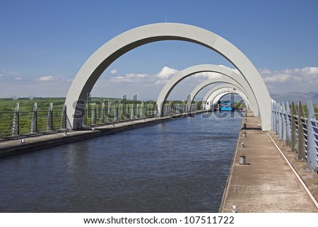 Looking through the arches at top of Falkirk Wheel, Falkirk, Central Scotland, UK. - stock photo