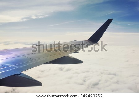 Looking through window aircraft. View from airplane.  - stock photo