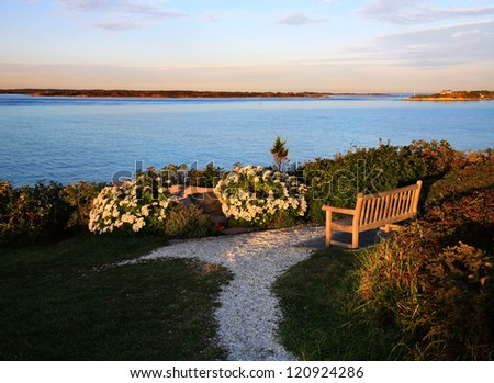 Looking Towards Martha's Vineyard From Nobska Point, Cape Cod - stock photo