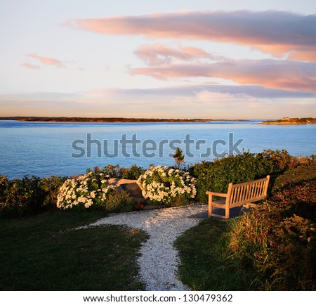 Looking Towards Martha's Vineyard From Nobska Point, Cape Cod, Massachusetts, USA - stock photo