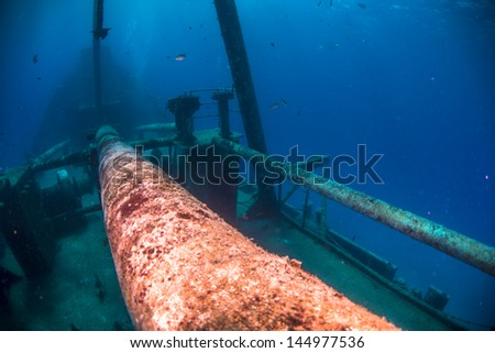 Looking towards the bow of the wreck of the US Kittiwake - stock photo
