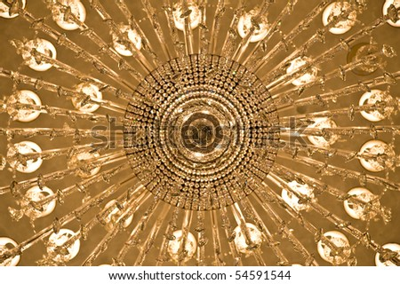 Looking up at a chandelier from below - stock photo