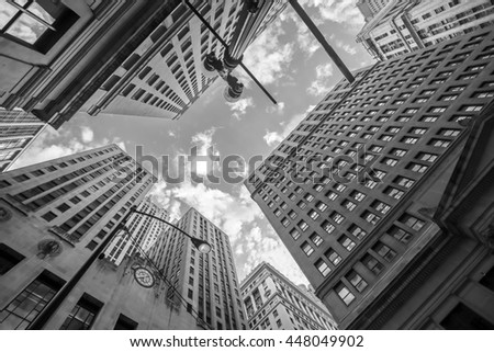 Looking up at Chicago's vintage building in financial district, IL, USA - stock photo