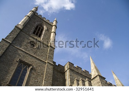 Looking up at Down Cathedral - stock photo