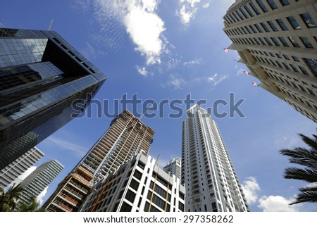 Looking up at highrise buildings on Brickell Miami FL - stock photo