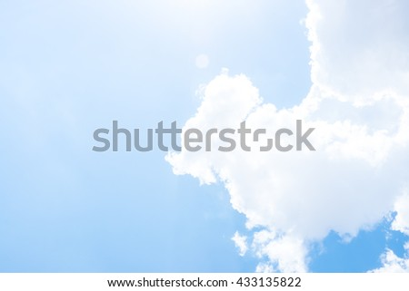 Looking up at Nice blue sky with sun beam and cloudy,Nature background - stock photo