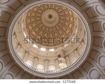 Looking up at the dome of the Capitol of Texas.