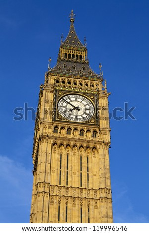 Looking up at the impressive Big Ben in London. - stock photo
