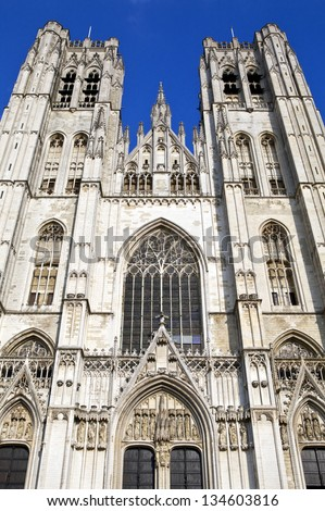 Looking up at the impressive St. Michael and St. Gudula Cathedral in Brussels, Belgium.
