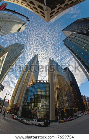 looking up at the skyscrapers in Toronto. - stock photo