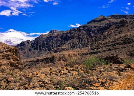 Looking up from the bottom of the grand canyon - stock photo