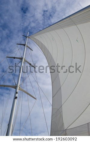 looking up from the bottom of the main sail