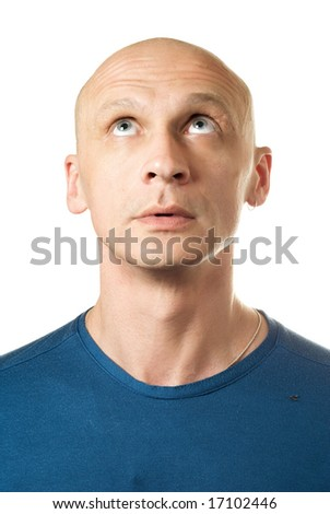 Looking up man. Portrait from bald man facial expressions series. - stock photo
