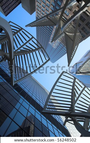 Looking up skyscrapers in Calgary Alberta Canada. - stock photo