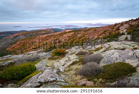 Lookout Atop Acadia National Park - stock photo