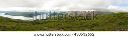 Lookout Hills Trail | Gros Morne | Newfoundland  One of the best panoramic vistas in the park. Taken from the platform atop Partridgeberry Hill. - stock photo