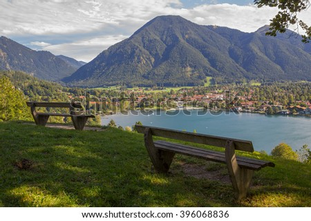 lookout point with benches, view to rottach-egern and wallberg, bavaria - stock photo