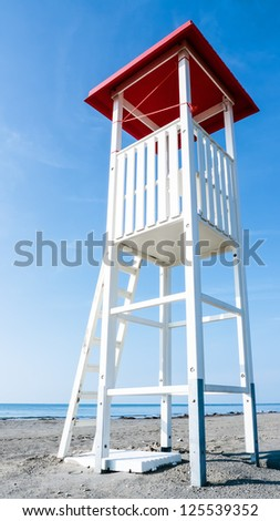 lookout tower at a beach - stock photo
