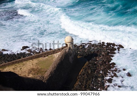 Lookout tower at Fort San Cristobal, San Juan, Puerto Rico - stock photo
