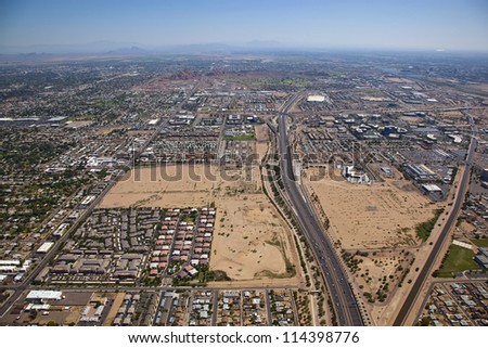 Loop 202 Freeway looking east from Phoenix to Tempe, Arizona - stock photo