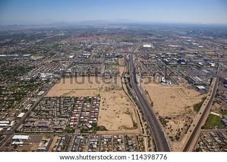 Loop 202 Freeway looking east from Phoenix to Tempe, Arizona - stock photo
