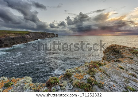 Loop head cliffs, light house, Ireland - stock photo