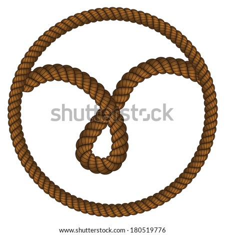 Loop made of old rope on white background.
