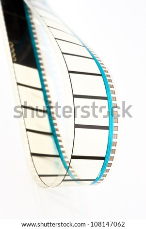loop 35mm film projection, on white background - stock photo