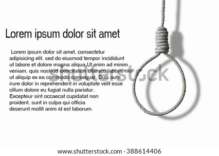 loop of rope and shadow for hanging on white background , concept of suicide and depression, - stock photo