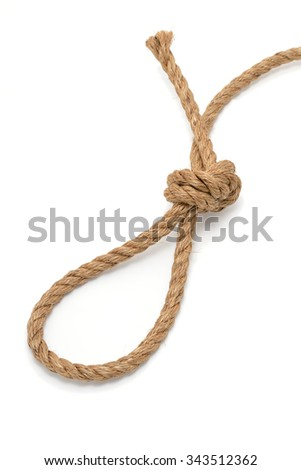 Loop on a rope, isolated on white - stock photo