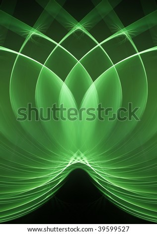 Loops green fractal - stock photo