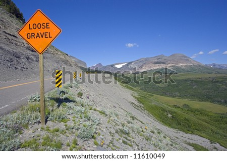 Loose Gravel sign found in Montana. - stock photo