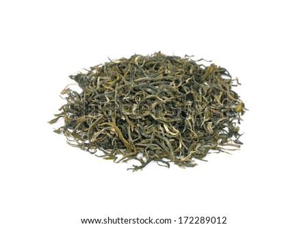 Loose green tea on white background. Type is spring bud green tea - stock photo