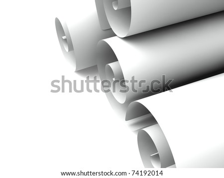 Loose rolls of paper curled up on the ends. Isolated on white - stock photo