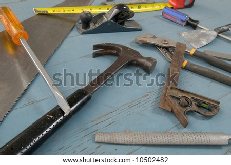 Loose Tools on a painted wooden deck