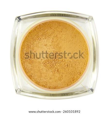 Loose translucent face powder makeup - stock photo