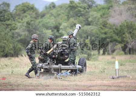 LOPBURI - NOVEMBER 2 : Gunnery practice with live ammunition of Thai Artillery military at Artillery Center on November 2, 2016 in lopburi, Thailand.
