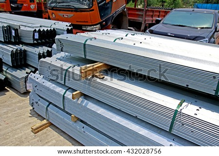 LOPBURI-THAILAND-APRIL 21 : Packing of hot-dip galvanized steel member for steel tower in Transmission line at warehouse on April 21, 2015 Lopburi Province, Thailand