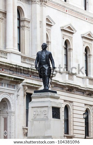 Lord Clive monument, King Charles Street, London, UK - stock photo
