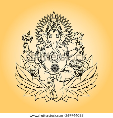 Lord Ganesha Indian God Elephant Head Stock Illustration 269944085