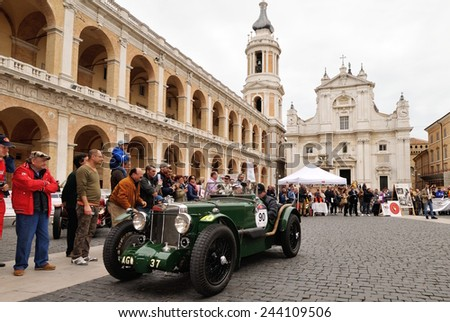 LORETO (AN), ITALY - MAY 16: A green MG K 3 Magnette takes part to the 1000 Miglia classic car race on May 16, 2014 in Loreto (AN). The car was built in 1933 - stock photo