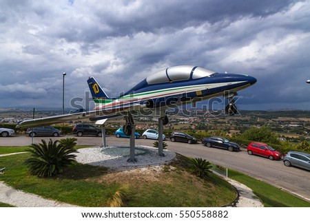 LORETO, ITALY - SEP 05, 2015: The plane - a monument