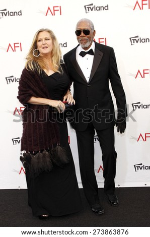 Lori McCreary and Morgan Freeman at the 40th AFI Life Achievement Award Honoring Shirley MacLaine held at the Sony Studios in Los Angeles on June 7, 2012.  - stock photo