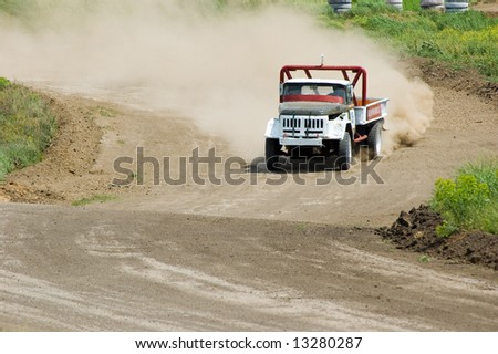 Lorry in competition in rally off-road - stock photo