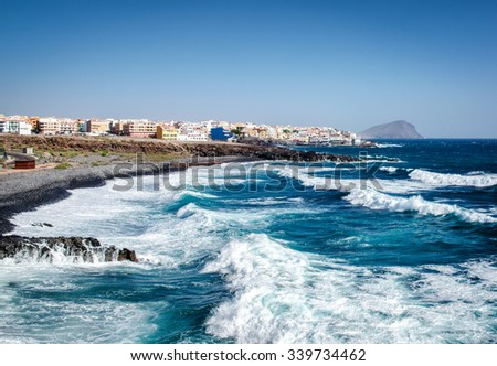 Los Abrigos, small fishing village in Granadilla de Abona, Tenerife. Canary Islands, Spain - stock photo