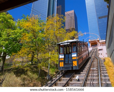 Los Angeles Angels flight funicular in downtown at Hill street - stock photo