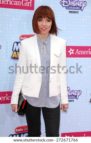 LOS ANGELES - APR 25:  Carly Rae Jepsen at the Radio DIsney Music Awards 2015 at the Nokia Theater on April 25, 2015 in Los Angeles, CA - stock photo